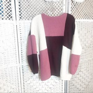 forenza acrylic vint. Pink/maroon XL women sweater